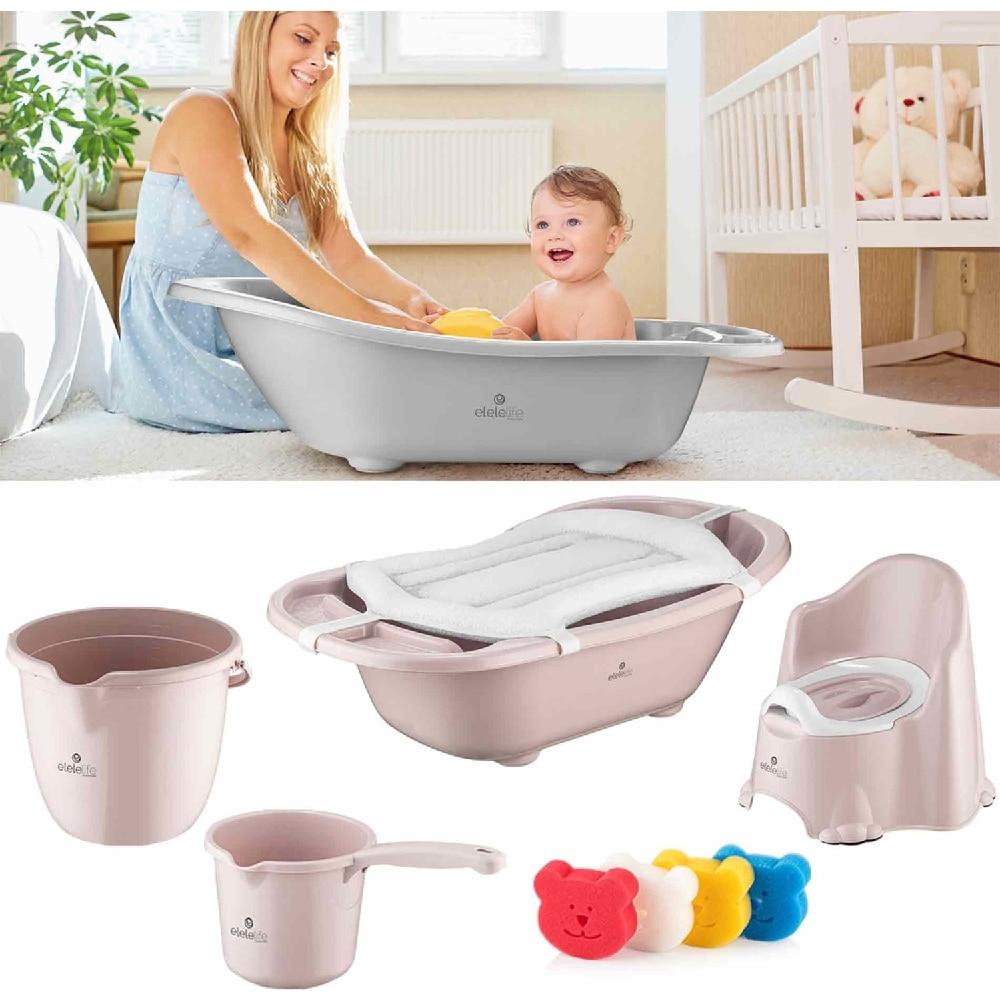 Luxury 6 Pieces Baby Bath Set with Drain and Bathtub Set Baby Newborn Shower Potty Bath Tub Baby Products Bath Seat Shower