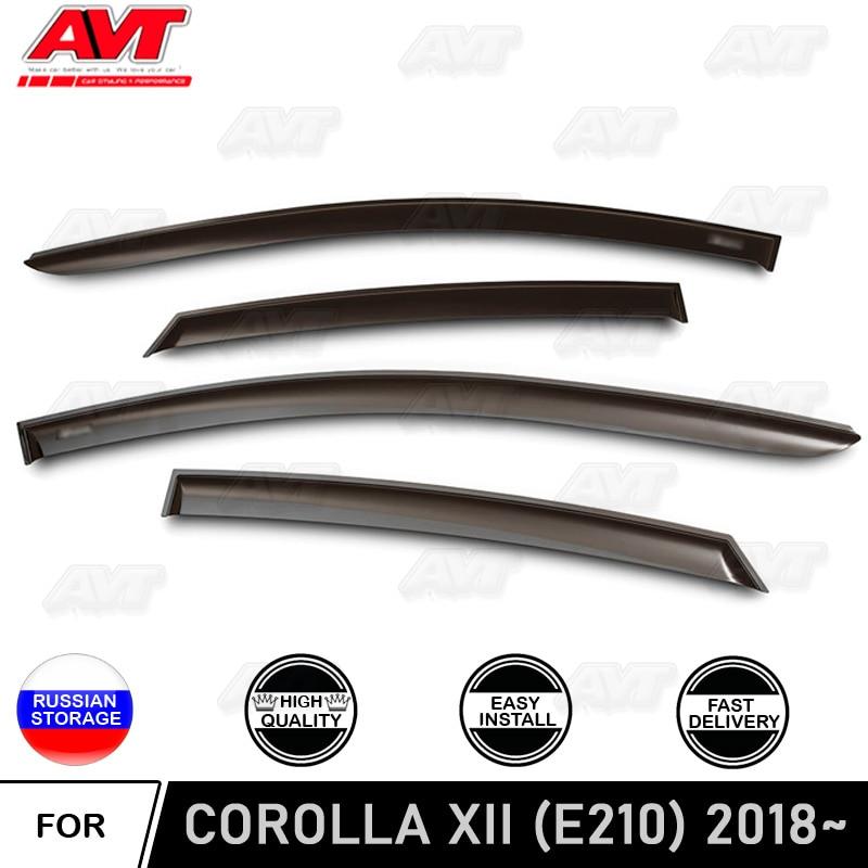 Window deflectors for Toyota Corolla XII (E210) 2018~ car styling wind deflector guard auto vent visor rain guards cover decor