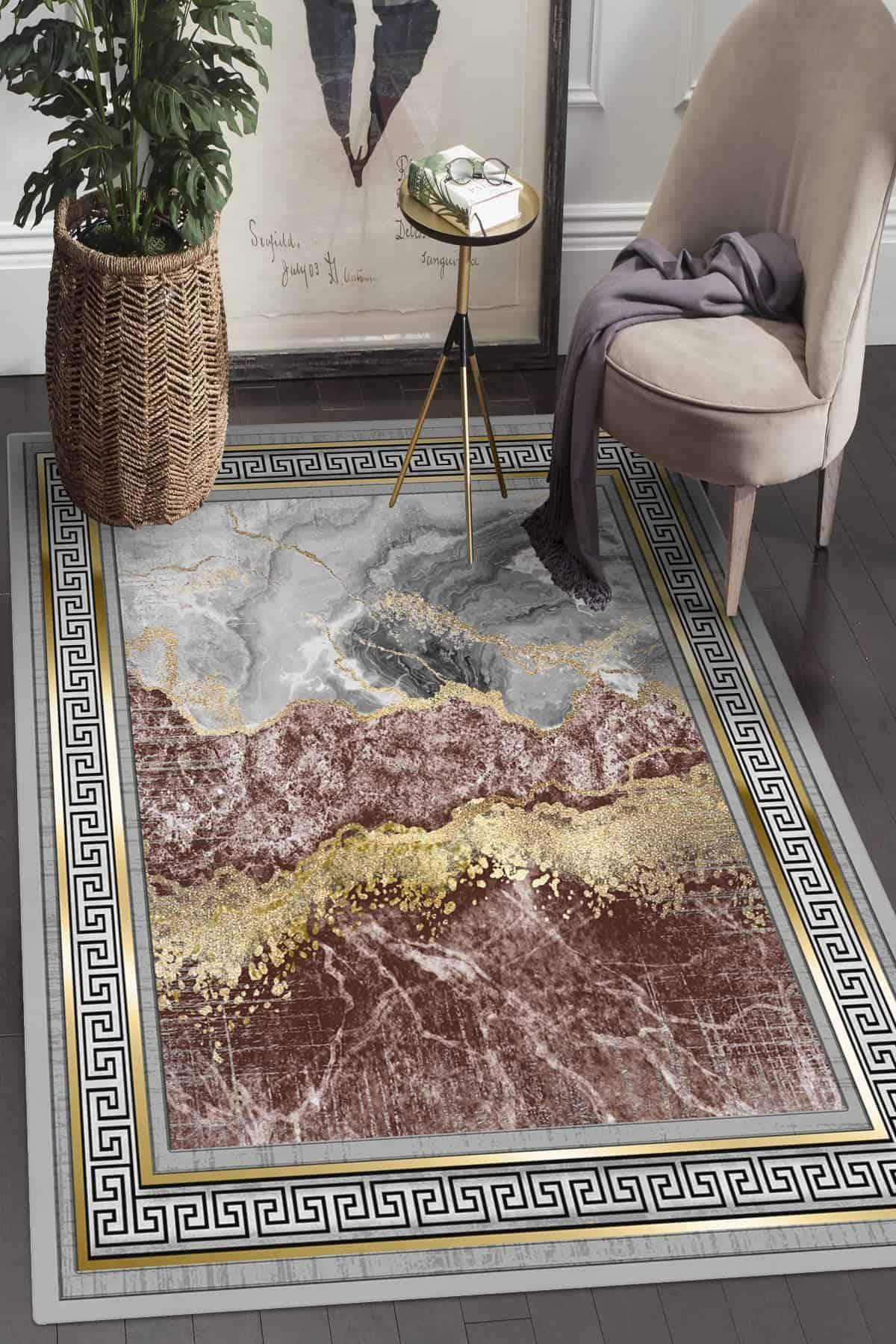 سجادة سجادة غرفة المعيشة التركية صنعة الرمادي والذهب دائم لينة سميكة المنسوجات المنزلية عدم الانزلاق الوحيد منطقة السجاد
