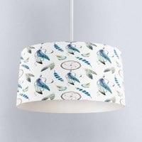 Else Blue Feathers Bohemian Aztec Digital Printed Fabric Chandelier Lamp Drum Lampshade Floor Ceiling Pendant Light Shade