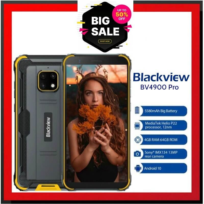 Перейти на Алиэкспресс и купить BV4900 Pro Мобильный телефон IP68 Прочный телефон 4 ГБ 64 ГБ Octa Core Android 10 Водонепроницаемый Blackview 5580 мАч NFC 5,7-дюймовый мобильный телефон 4G Официальные...