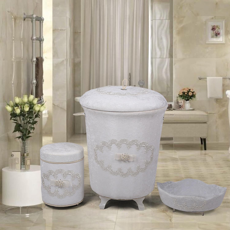 Bonny Home غالاكسي الأبيض 3 قطع الغسيل سلة مجموعة حامل المناشف صندوق المنظفات المنظم تخزين الملابس القذرة