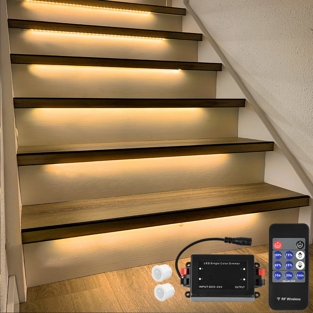 16 Steps 1.3M Stairway LED Strip lighting with motion sensor and wireless dimmer-Plug and Play enlarge