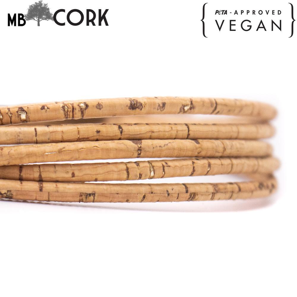 Natural con corcho dorado, 5mm, corcho redondo, corcho portugués, suministros de Joyería Al por mayor/hallazgos COR-181