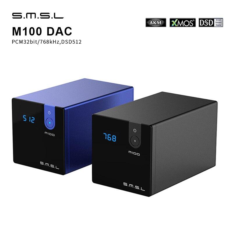 Smsl m100 digital dac amplificador de áudio decodificador ak452 alta fidelidade dsd512 usb dac hi-res amp óptico entrada coaxial 32bit/768khz