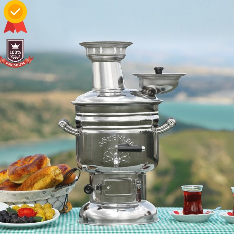 Stainless Steel Samovar Wood Burning Charcoal Camping Stove Tea Kettle Outdoor Tableware Camping Acc