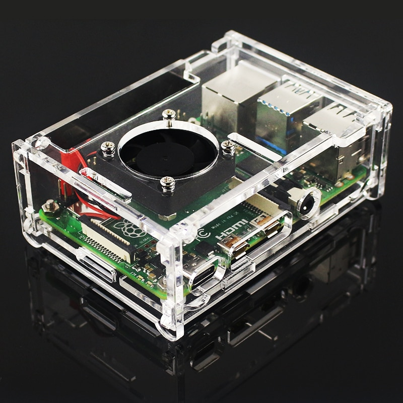 Raspberry Pi 4 Model B Accessories Acrylic Case + Cooling Fan + Heatsink + Switch Power Adapter + Micro HDMI RPI127 enlarge