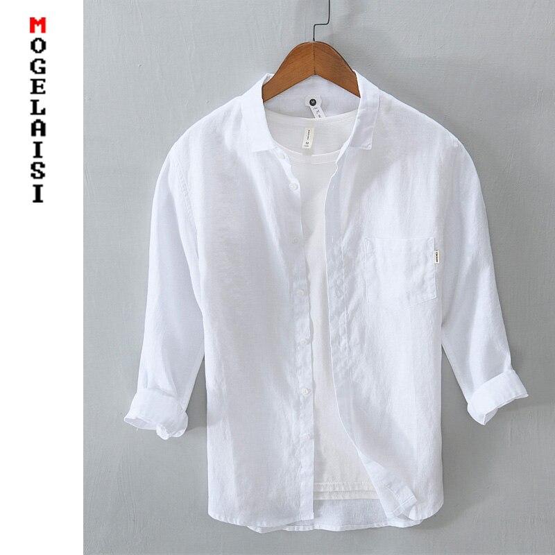 قميص كتان عادية الرجال الصلبة طويلة الأكمام 100% الكتان قميص رجالي بلايز الصيف تنفس عالية الجودة رجل الملابس الآسيوية حجم 849