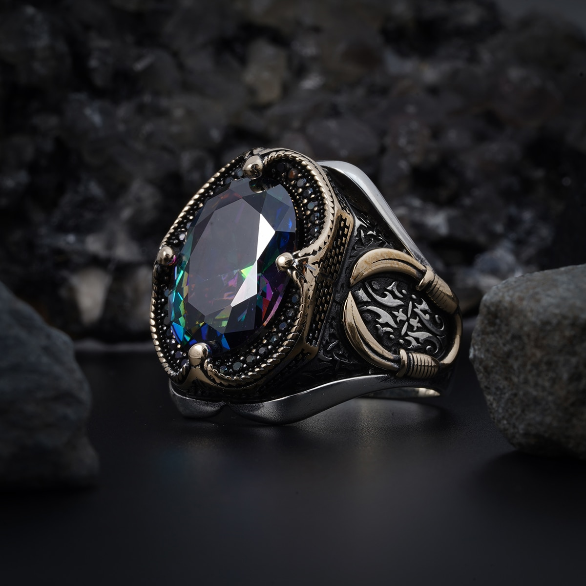 Promo Alexandrite Mistik Topaz Natural Stone 925 Sterling Silver Ring For Men Jewelry Fashion Vintage Gift Turkish Style Rings Onyx