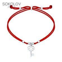Silber armband mit anhänger-kleinen schlüssel SOKOLOV, mode schmuck, silber, 925, frauen der männlichen