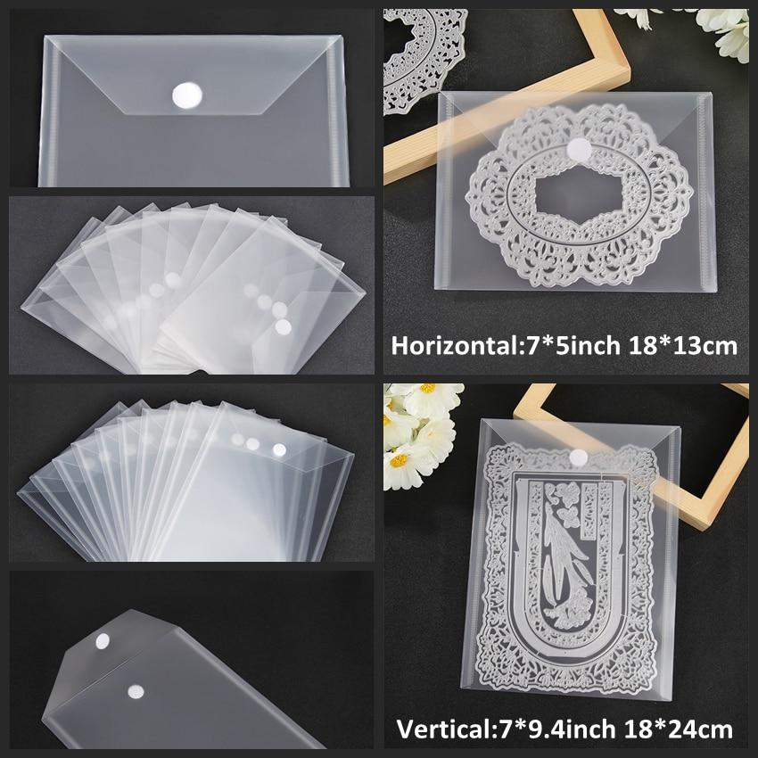 10 unids/set 18x1 3cm/18x24cm bolsa de almacenamiento de plástico para almacenar troqueles sellos plantilla en relieve organizador bolsas transparentes