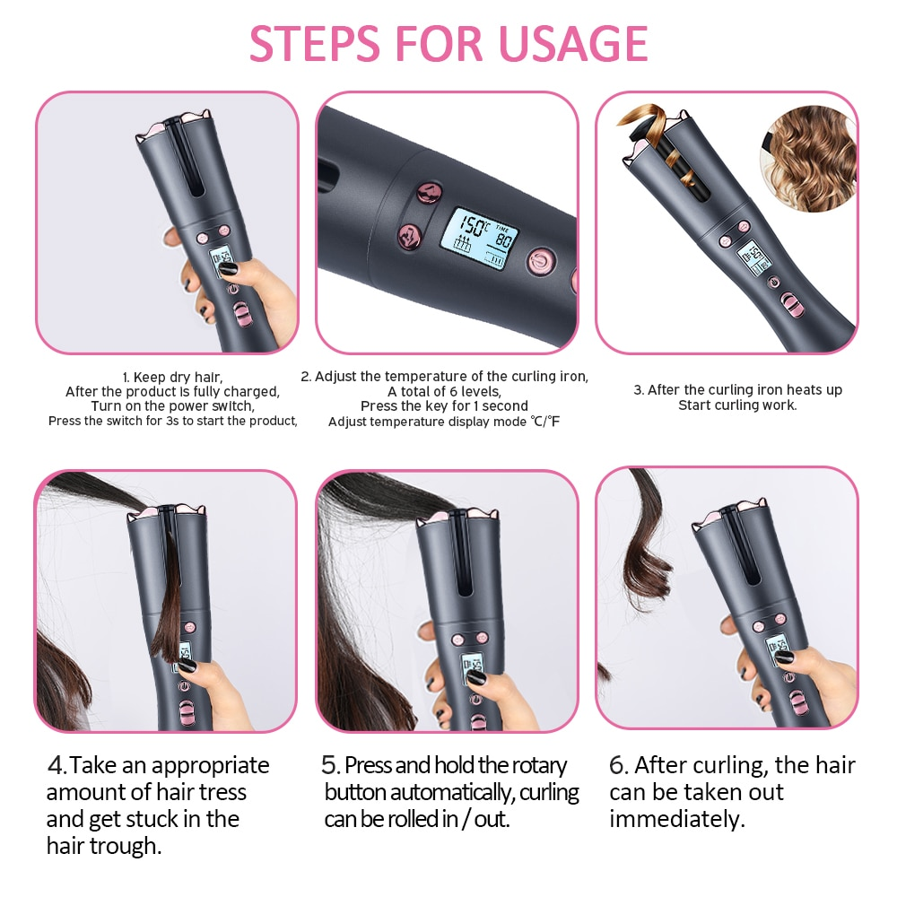 Cordless Automatic Rotating Hair Curler Wireless Curling Iron USB Rechargeable Air Curler Wave HairStyling Tool 1 Comb+2pc Clips