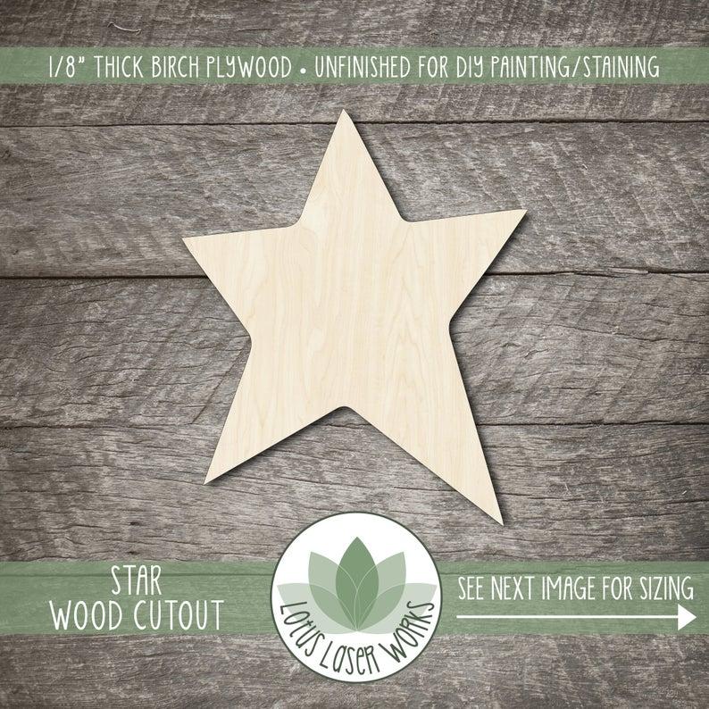Recorte de estrellas de madera, formas de Crart de madera en blanco, adornos de estrellas de madera, formas de estrellas de madera, decoración de fiesta de estrellas