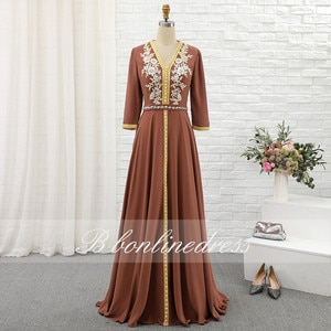 Red Moroccan Caftan Evening Dresses 2020 Embroidery Crytal Long Formal Gown Sleeve Arabic Dubai Muslim Party Dress Plus Size