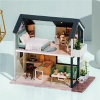 cutebee diy dollhouse kit wooden doll houses miniature dollhouse furniture kit toys for children new year christmas gift casa