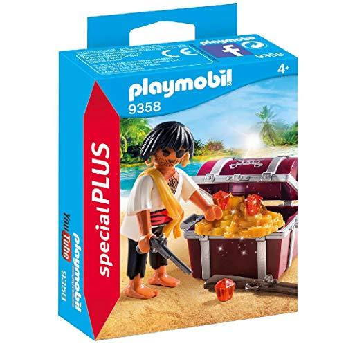 PLAYMOBIL-brinquedo Pirata com baú do tesouro, Multicolor (geobra Brandstätter 9358)