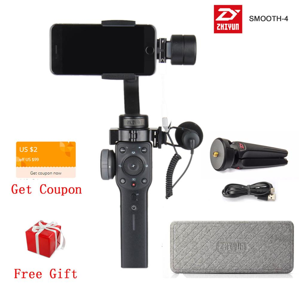 Zhiyun Smooth4 smooth 4 3-осевой Ручной Стабилизатор для смартфона экшн-камера iPhone X 8 Gopro Hero 5 sjcam YI mic kit