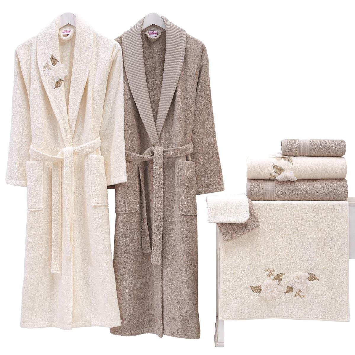 100% Cotton Towel Terry Bathrobe Set From Turkey, For Women/ Man, Winter, lovers Soft Bath Robe Nightrobe Casual Home, Family