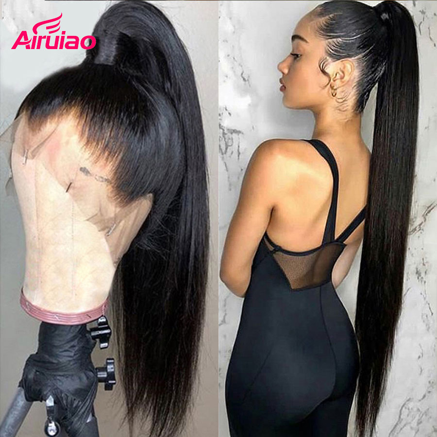 360 Lace Frontal Human Hair Wigs Bone Straight 13X6 HD Transparent Lace Front Wig Closure Pre Plucked Bleached Knots Full Women