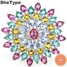 31x31mm SheType Multi couleur 7.1g Tourmaline Citrine Tanzanite aigue-marine cadeau pour femme 925 solide en argent Sterling anneaux