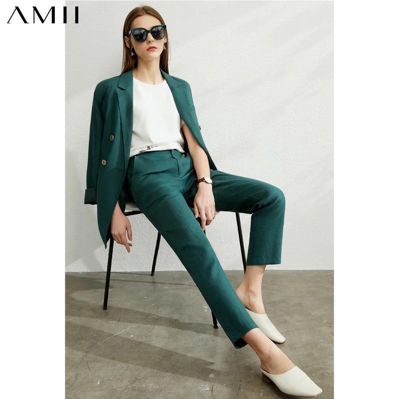 AMII Minimalism Autumn Women Set Solid Lapel Double Breasted Suit Coat High Waist Solid Pant Solid Short Female Suit 12040051