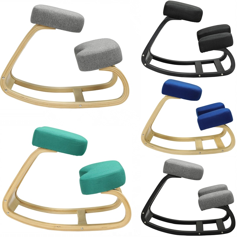 Home Office Ergonomic Kneeling Chair Rocking Balancing Wood Comfortable Kneel Stool for Improving Posture Relieve Knee Pressure