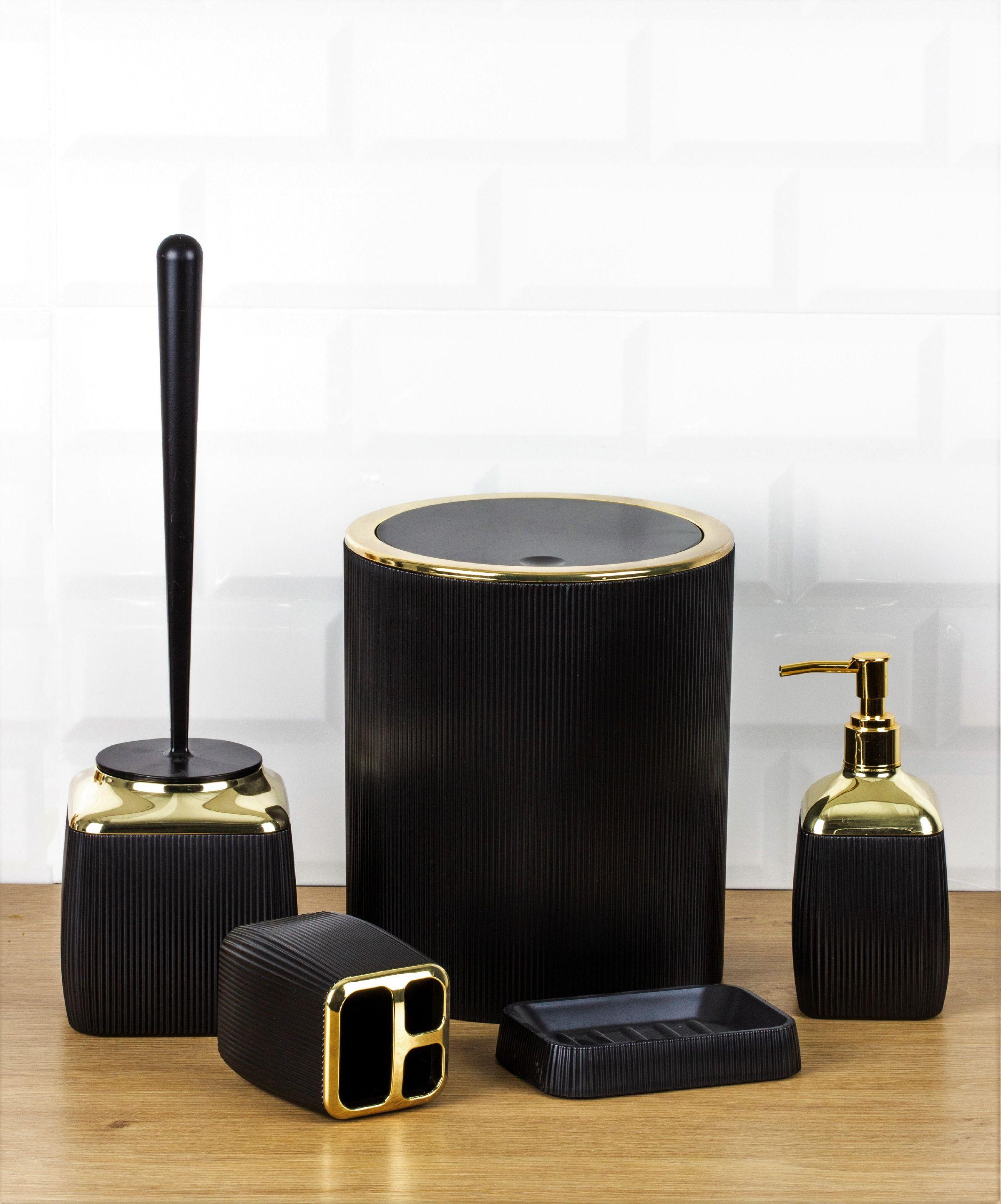 OceanLand Gold Series Striped 5 Piece Bathroom Set Hard Plastic Toothbrush Holder Soap Dispenser Toilet Brush Dustbin enlarge