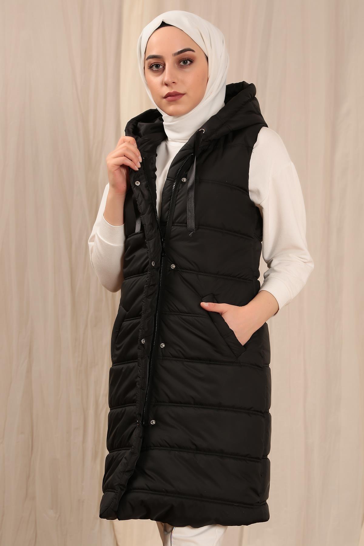 Ramadan Abaya Dubai Turkey Arabic Muslim Hijab Dress Kaftan Islam Hooded Ribbed Zippered Snap-Fast Inflatable Vest