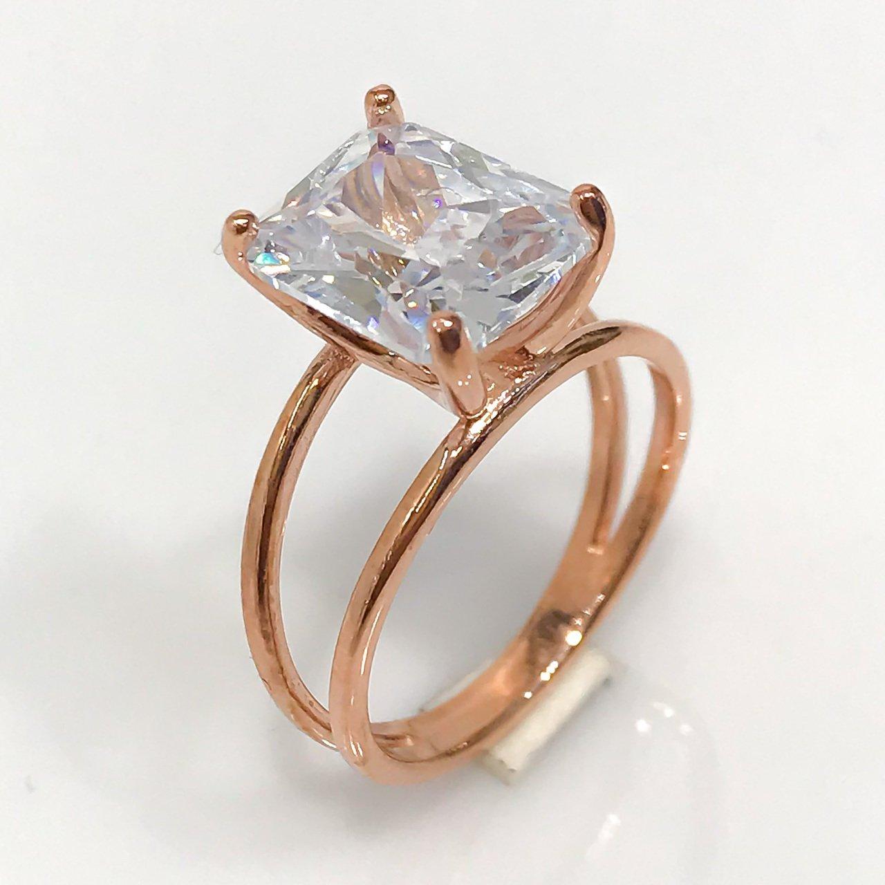 Baguette cristal diamante anillo de plata