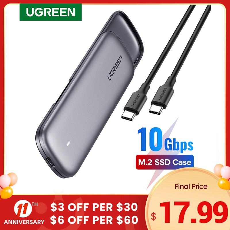 UGREEN SSD Case M.2 NVMe Case Enclosure USB C PCIe M2 SSD Caddy For Samsung 970 EVO WD Type C 3.1 Gen2 M+B M-Key Case Adapter