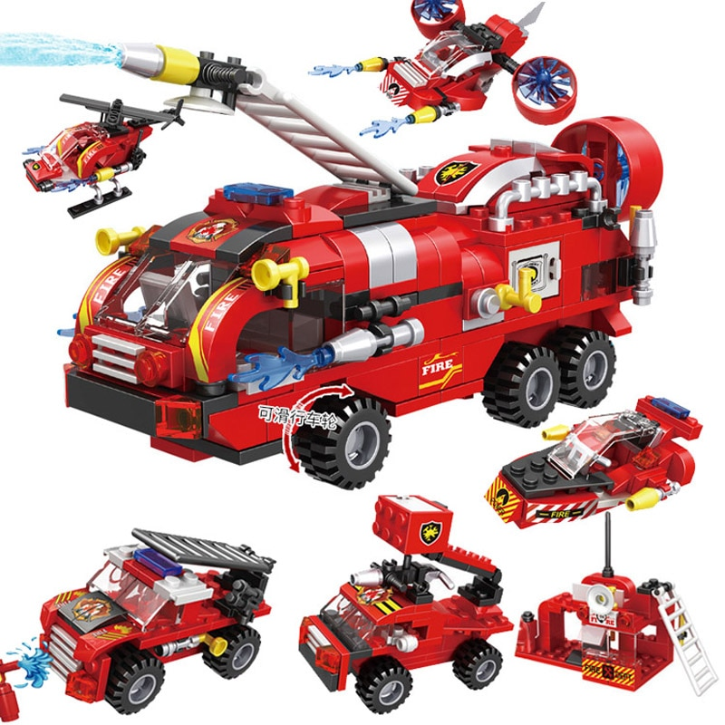 enlighten 970pcs fire rescue headquarters sation centre helicopter truck fireman assemble toy car building blocks toys New Toys & Hobbies Fire Engine Boat Helicopter Truck Ship For Building Blocks City Fire Station car