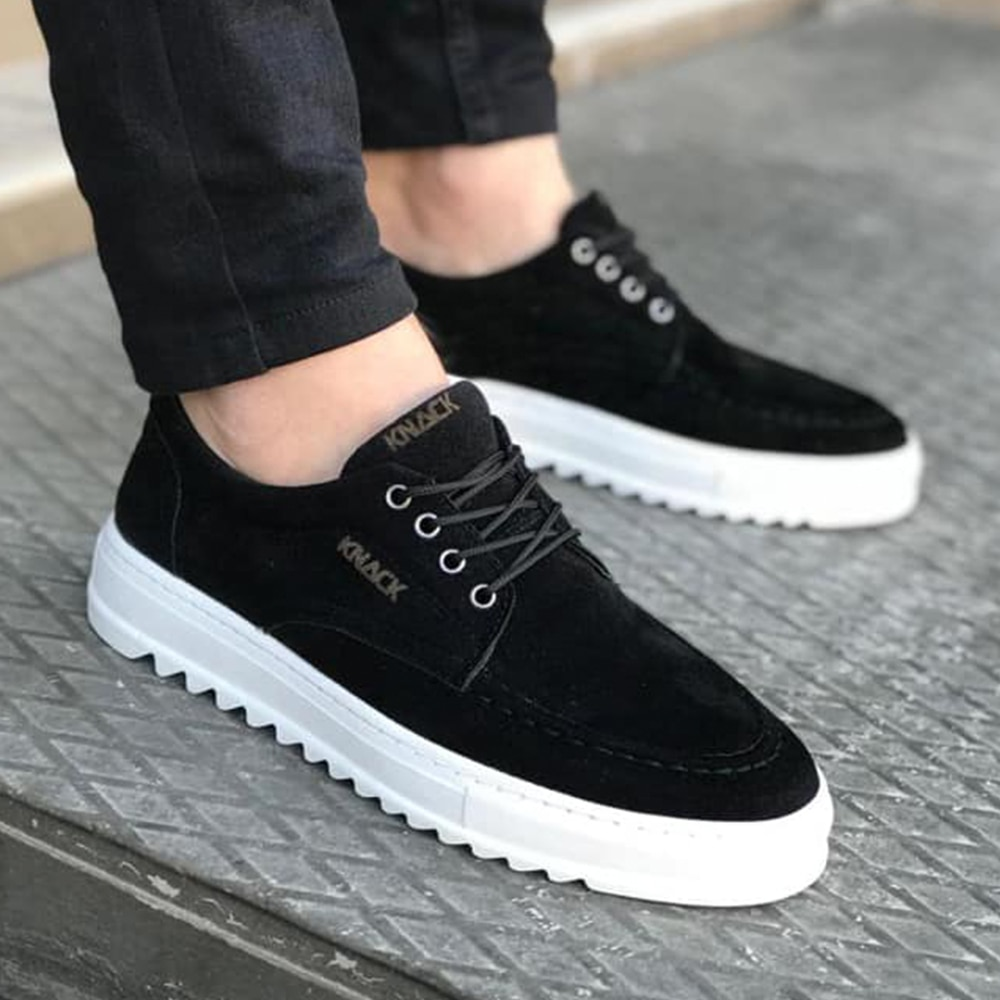 Knack Men's Shoes Suede Black Color (White Base) Faux Leather Laced Summer and Spring Seasons Daily Wear Comfortable Flat Brown Casual Sneakers man shoes high quality shoes for men leather shoes for man luxury T12