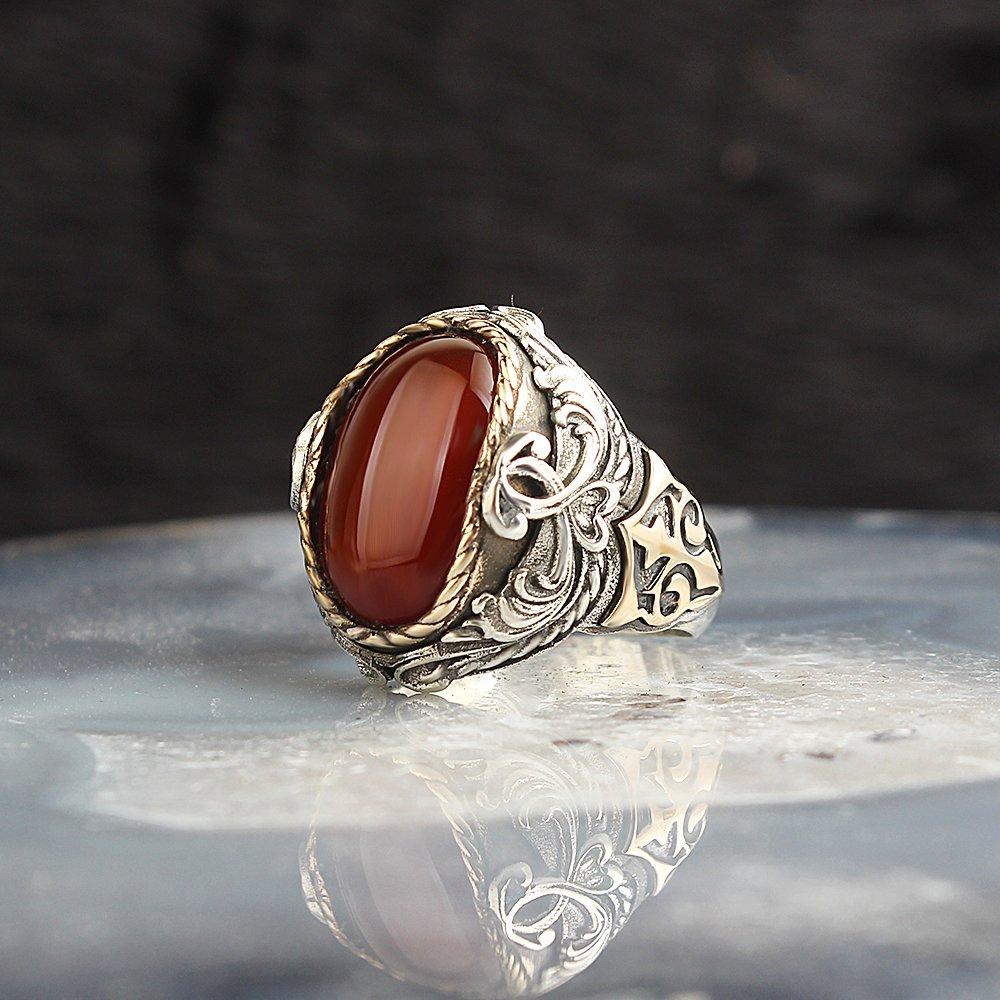 ريال فضة خاتم مع العقيق الطبيعي أو توباز أو حجر كريم عقيق يماني الفضة النساء خاتم فضة الرجال خاتم هدايا للنساء