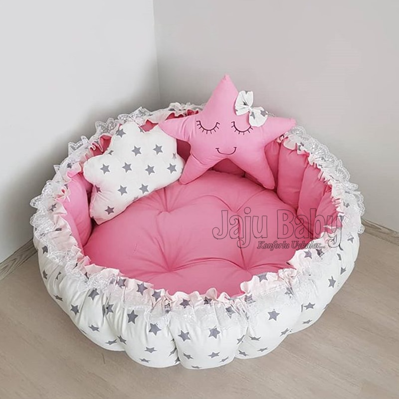 Jaju Baby gris estrella Rosa estera de juego de bebé, estera de juego de bebé, cama de cama, tumbona de bebé, cama de bebé portátil, puerto