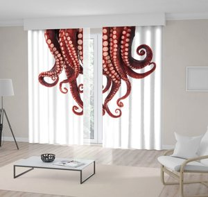 Curtain of Tentacles Octopus Isolated on White Sea Underwater Animals Wildlife Nature Photo Brown