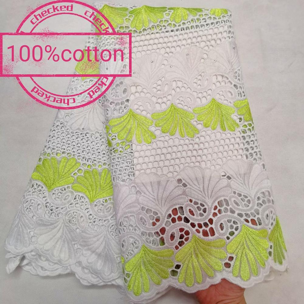 New High Quality 100% Cotton Nigeran Dry Cotton Lace Fabric Embroidery in Switzerland African Swiss Voile Lace Fabrics 5 yards