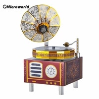 3d music box retro gramophone theme music boxes 3d metal puzzle diy with meet song christmas new year gift toys for adults yy206