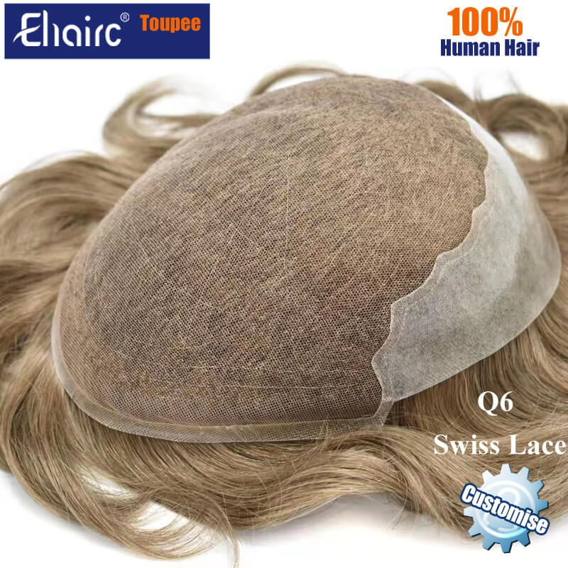 Q6 Swiss Lace Customized Color Toupee Men Replacement System Unit Wig For Men Male Hair Prosthesis 100% Natural Human Hair Wig
