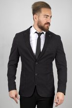 DeepSEA Male Black Self Print Narrow Cut Jeans Blazer Jacket 2001002