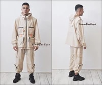 2 pieces offwhite sets men fashion detachable cargo waistcoat with pockets military jacket and loose fit elastic waist buckle pa