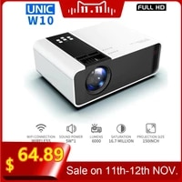 UNIC     projecteur W10 LED 6000 Lumen  1080P  FullHD  compatible HDMI  WIFI  ecran de synchronisation de jeu  Bluetooth  lentille LCD  Android