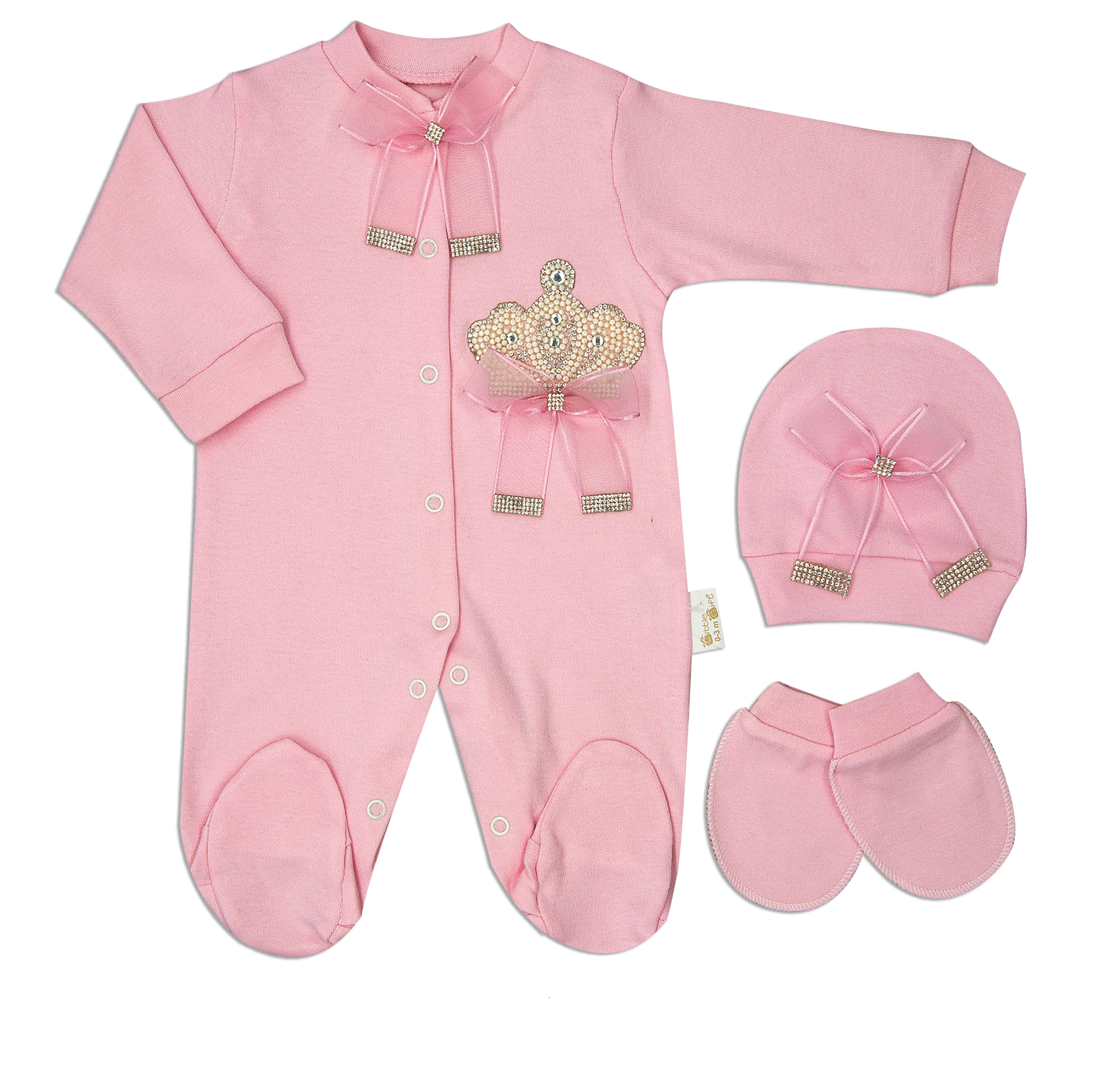 Newborn Baby Clothes Romper Set Cotton Basic Essentials Lacy Pearly Crowned 3 Pcs Layette Wellcome Home Gift 0-3 Month 56 cm