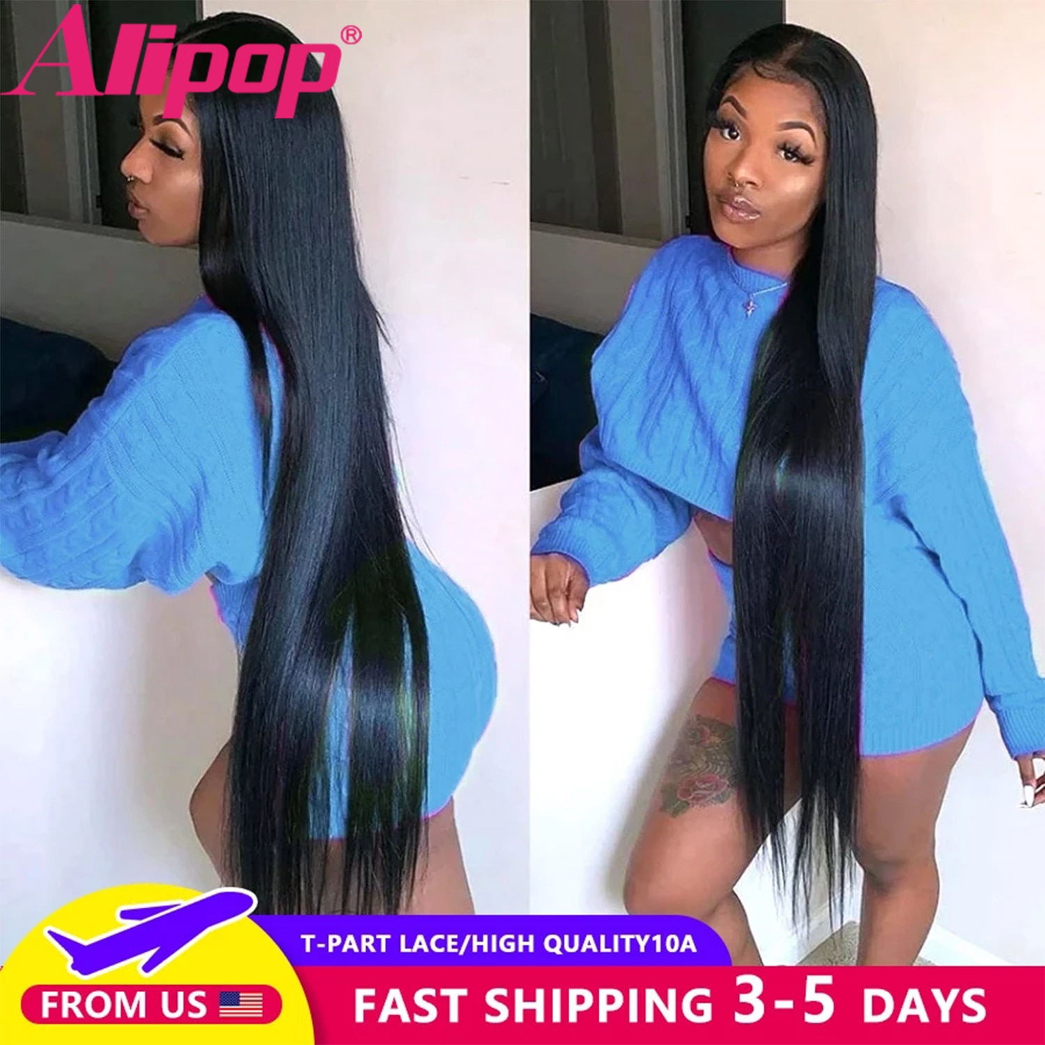 Straight Human hair Wigs Straight Lace Front Wig For African American Women HD Transparent Lace Frontal Wig T-Part