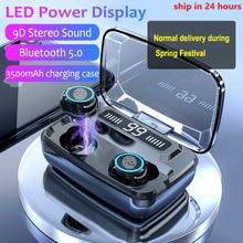 3500mAh LED Bluetooth Wireless Earphones Headphones Earbuds TWS Touch Control Sport Headset Noise Ca