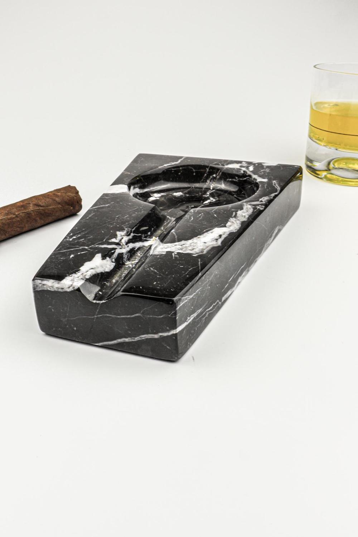 Black Natural Marble Smoking Accessories Ashtray Bulk Cool European Decor Gifts Boyfriend Cigar Cigarette Weed Decorative Trays