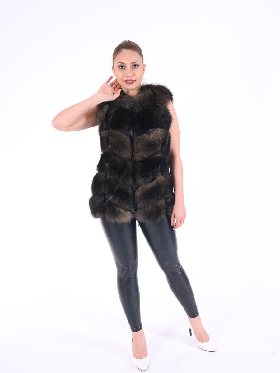 Women Genuine Sheepskin Leather With Real Fox Fur Vest Whole skin Natural Fox Fur Coat Luxury Outwear 2021 New Turkish Fashion