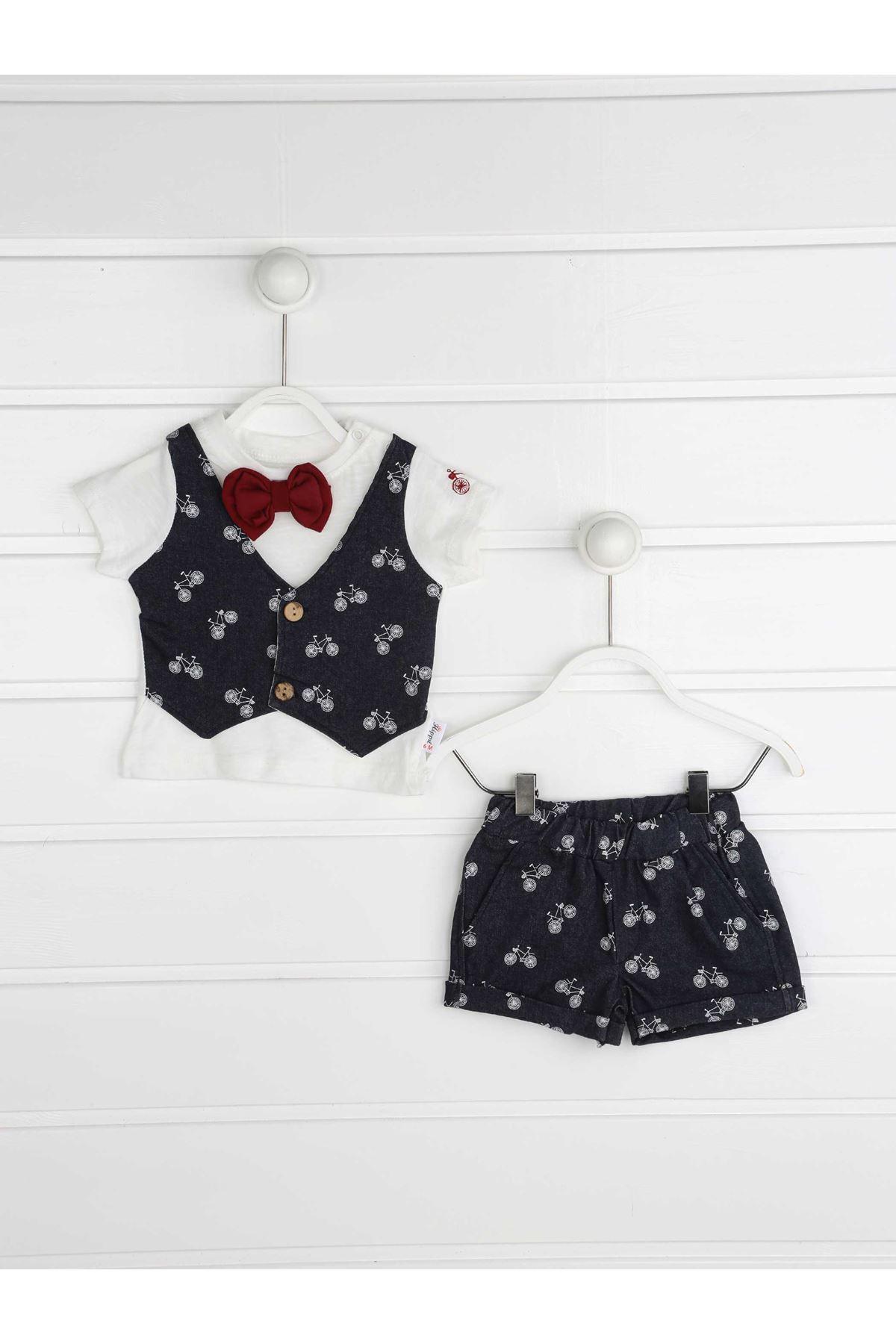 Navy blau Sommer Männlichen Baby Papyonlu 2 li Anzug
