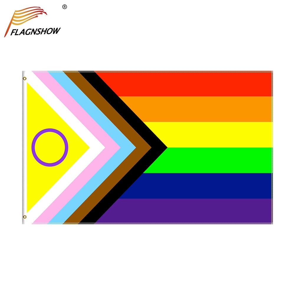 Новый яркий флаг для ЛГБТ-трансформера, новый дизайн 2021, улучшенное отображение интерсексуалов ЛГБТ, тяжелый полиэстер 100D