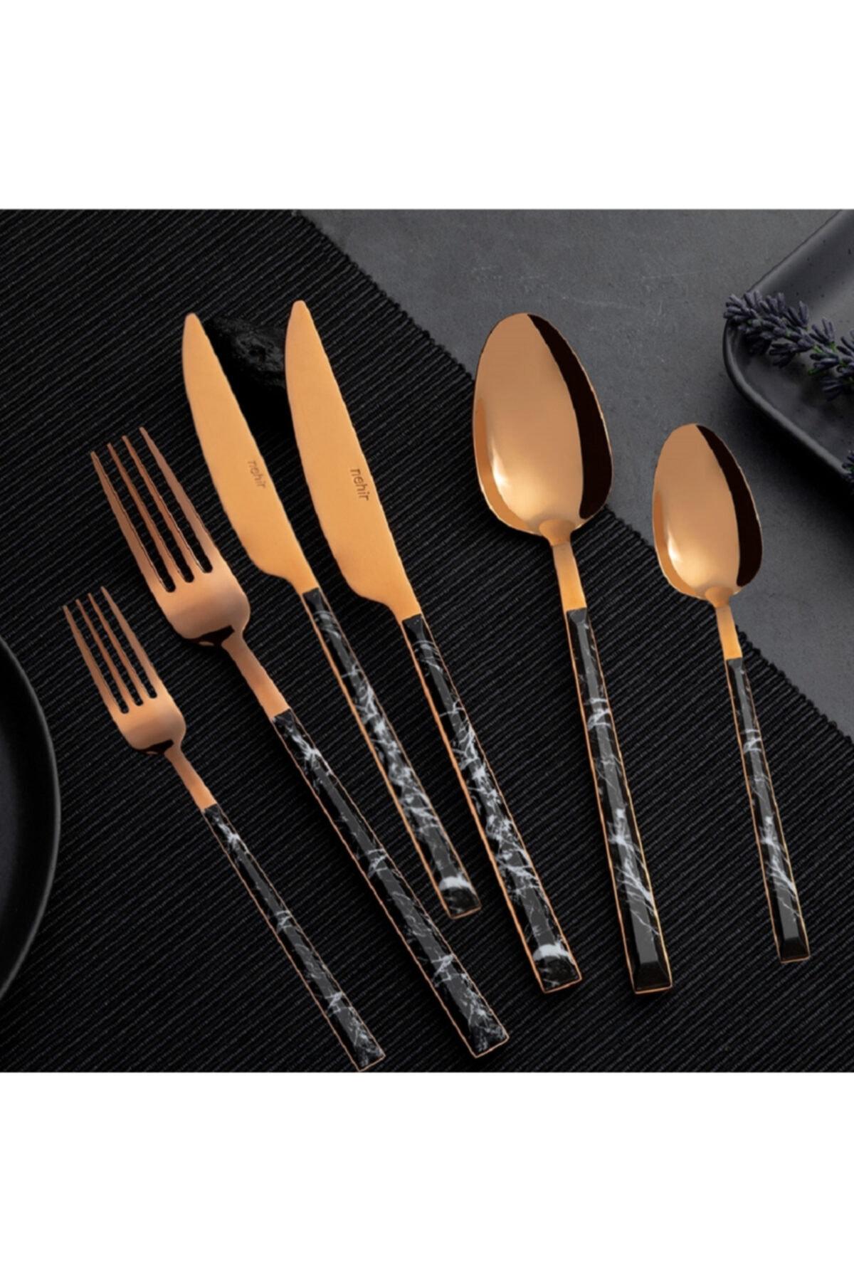 Gold Besteck Gabeln Messer Löffel 36PCS Edelstahl Abendessen Geschirr lila-8046 Set Gabel Löffel Messer Stäbchen