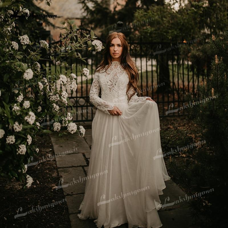 Vestido de novia de línea A de marfil, de encaje, manga larga,...